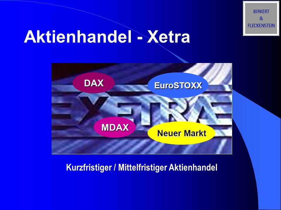 Derivatehandel - Eurex Kurzfristig Future-Kontrakte auf den DAX, EuroSTOXX, Nemax 50, SMI und Bund Systematisch Hedging