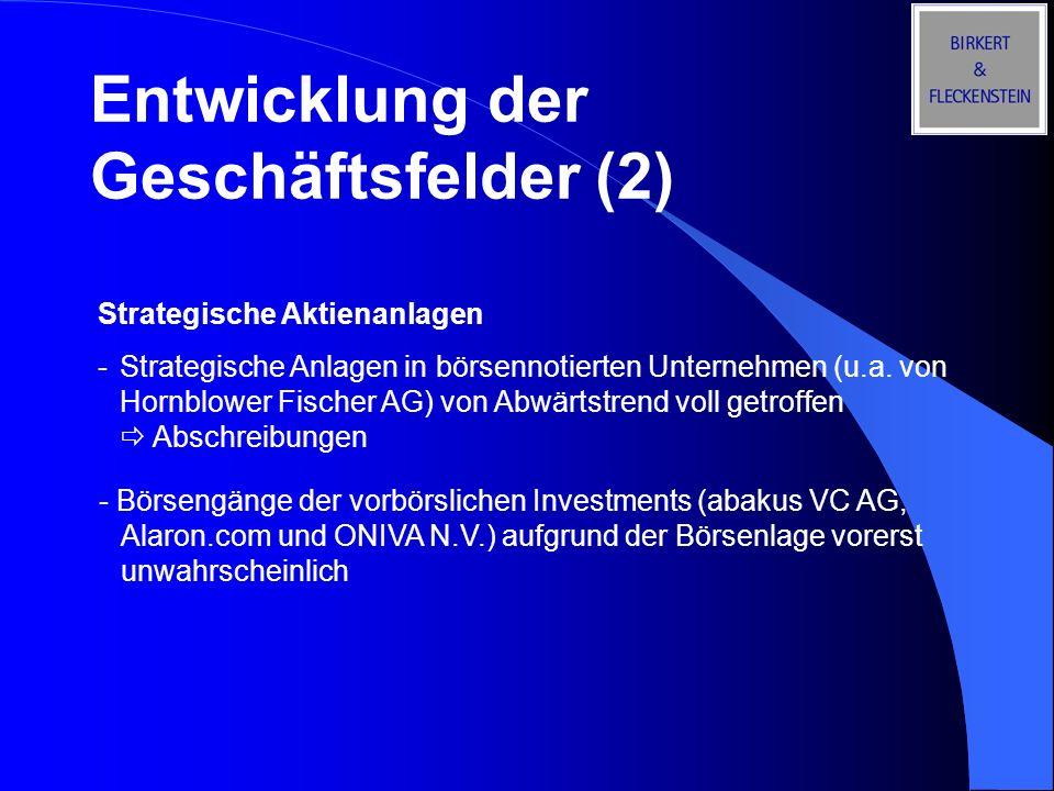 Entwicklung der Geschäftsfelder (2) Strategische Aktienanlagen - Strategische Anlagen in börsennotierten Unternehmen (u.a. von Hornblower Fischer AG)