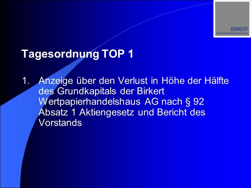 Tagesordnung TOP 1 1.Anzeige über den Verlust in Höhe der Hälfte des Grundkapitals der Birkert Wertpapierhandelshaus AG nach § 92 Absatz 1 Aktiengeset