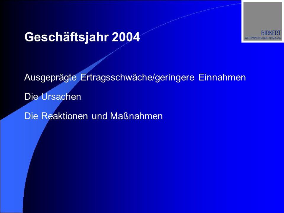 Ausgeprägte Ertragsschwäche/geringere Einnahmen Die Ursachen Die Reaktionen und Maßnahmen Geschäftsjahr 2004