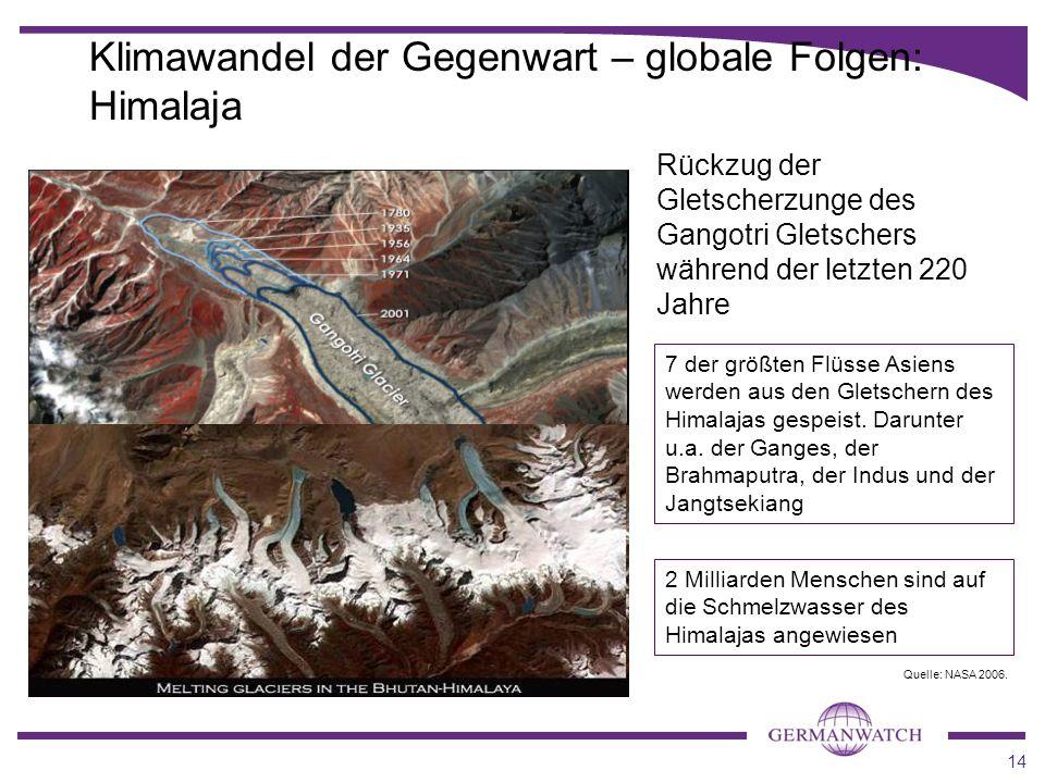 14 Klimawandel der Gegenwart – globale Folgen: Himalaja Rückzug der Gletscherzunge des Gangotri Gletschers während der letzten 220 Jahre 7 der größten