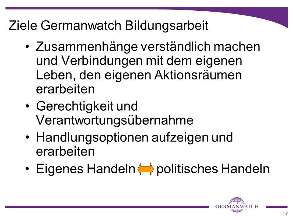 17 Ziele Germanwatch Bildungsarbeit Zusammenhänge verständlich machen und Verbindungen mit dem eigenen Leben, den eigenen Aktionsräumen erarbeiten Ger