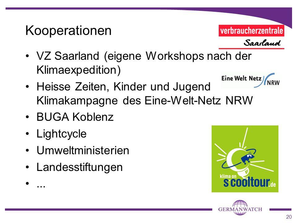 20 Kooperationen VZ Saarland (eigene Workshops nach der Klimaexpedition) Heisse Zeiten, Kinder und Jugend Klimakampagne des Eine-Welt-Netz NRW BUGA Ko