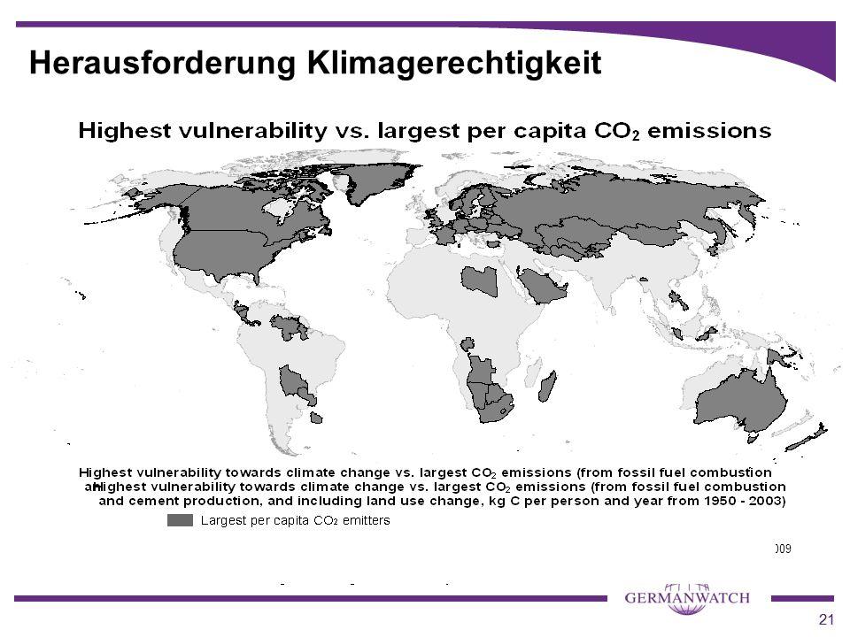 21 Herausforderung Klimagerechtigkeit Quelle: WBGU 2009