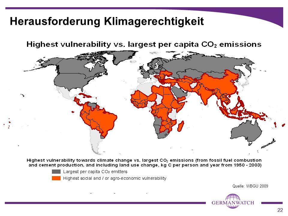 22 Herausforderung Klimagerechtigkeit Quelle: WBGU 2009