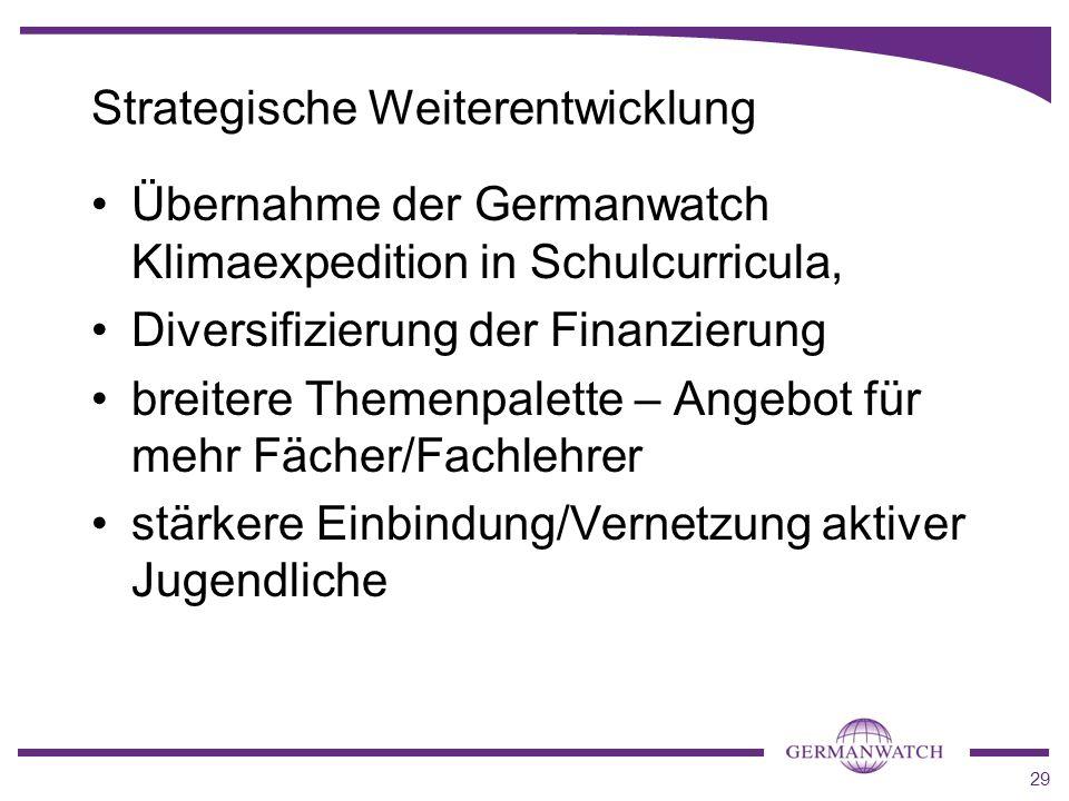 29 Strategische Weiterentwicklung Übernahme der Germanwatch Klimaexpedition in Schulcurricula, Diversifizierung der Finanzierung breitere Themenpalett