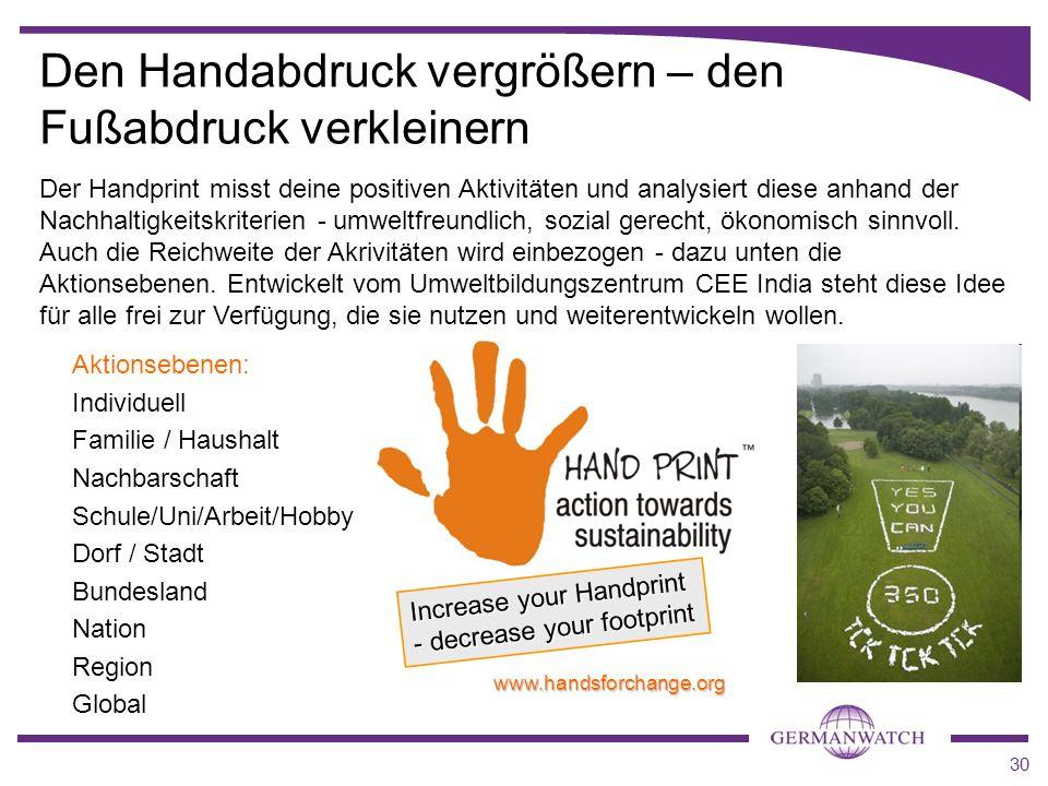 30 Aktionsebenen: Individuell Familie / Haushalt Nachbarschaft Schule/Uni/Arbeit/Hobby Dorf / Stadt Bundesland Nation Region Global Increase your Hand