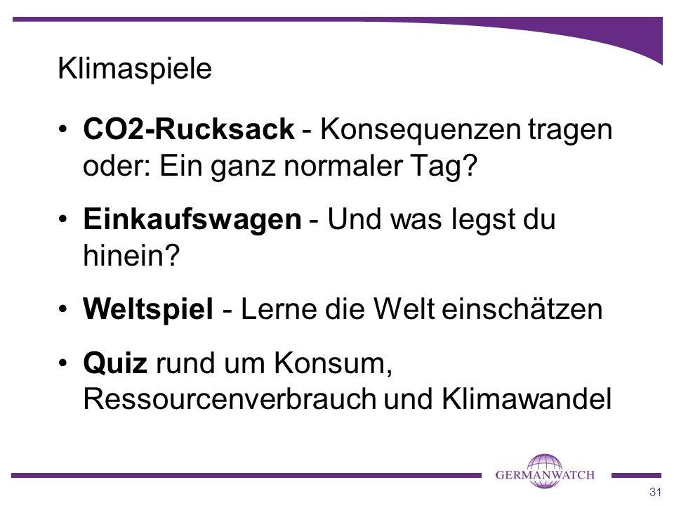 31 Klimaspiele CO2-Rucksack - Konsequenzen tragen oder: Ein ganz normaler Tag? Einkaufswagen - Und was legst du hinein? Weltspiel - Lerne die Welt ein