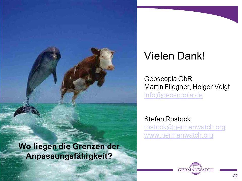 32 Vielen Dank! Geoscopia GbR Martin Fliegner, Holger Voigt info@geoscopia.de Stefan Rostock rostock@germanwatch.org www.germanwatch.org info@geoscopi
