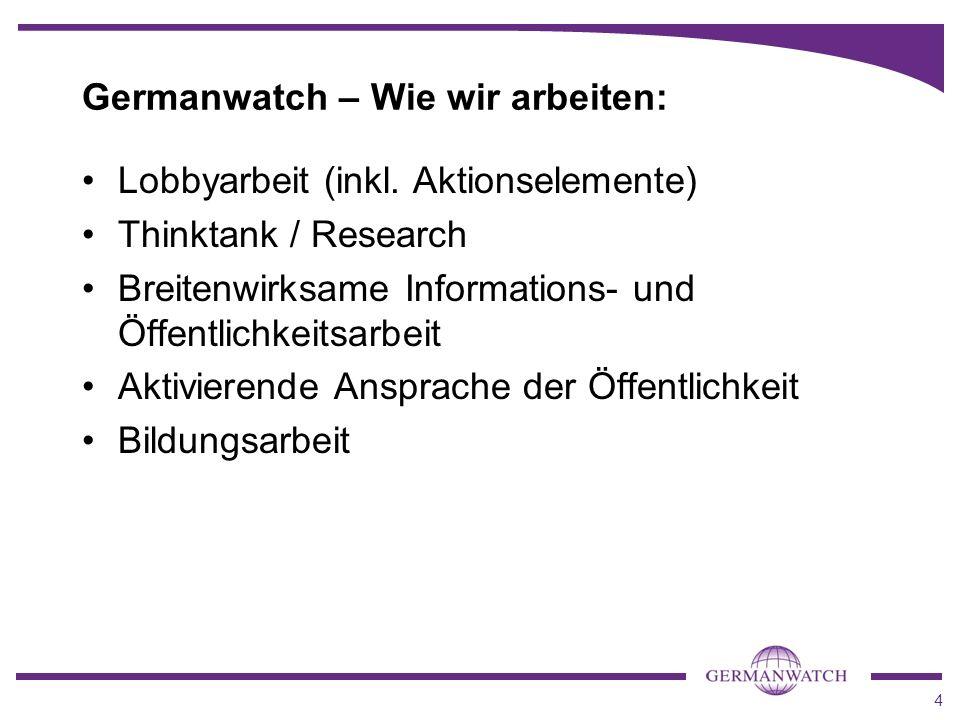 4 Lobbyarbeit (inkl. Aktionselemente) Thinktank / Research Breitenwirksame Informations- und Öffentlichkeitsarbeit Aktivierende Ansprache der Öffentli
