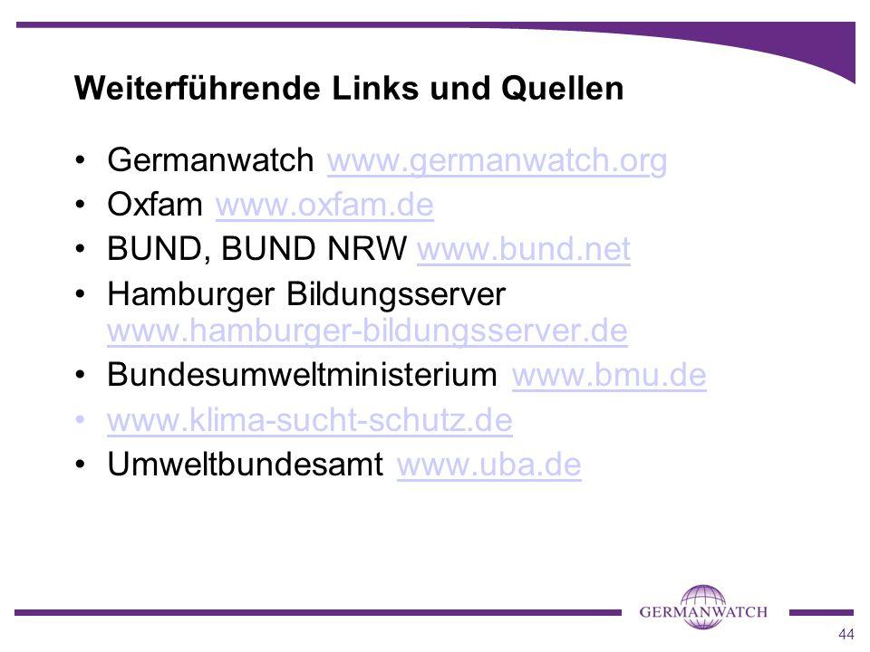 44 Weiterführende Links und Quellen Germanwatch www.germanwatch.org Oxfam www.oxfam.de BUND, BUND NRW www.bund.net Hamburger Bildungsserver www.hambur