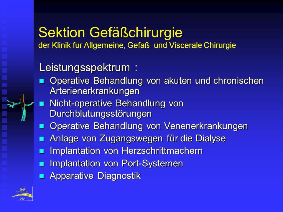 Sektion Gefäßchirurgie der Klinik für Allgemeine, Gefäß- und Viscerale Chirurgie Leistungsspektrum : Operative Behandlung von akuten und chronischen A