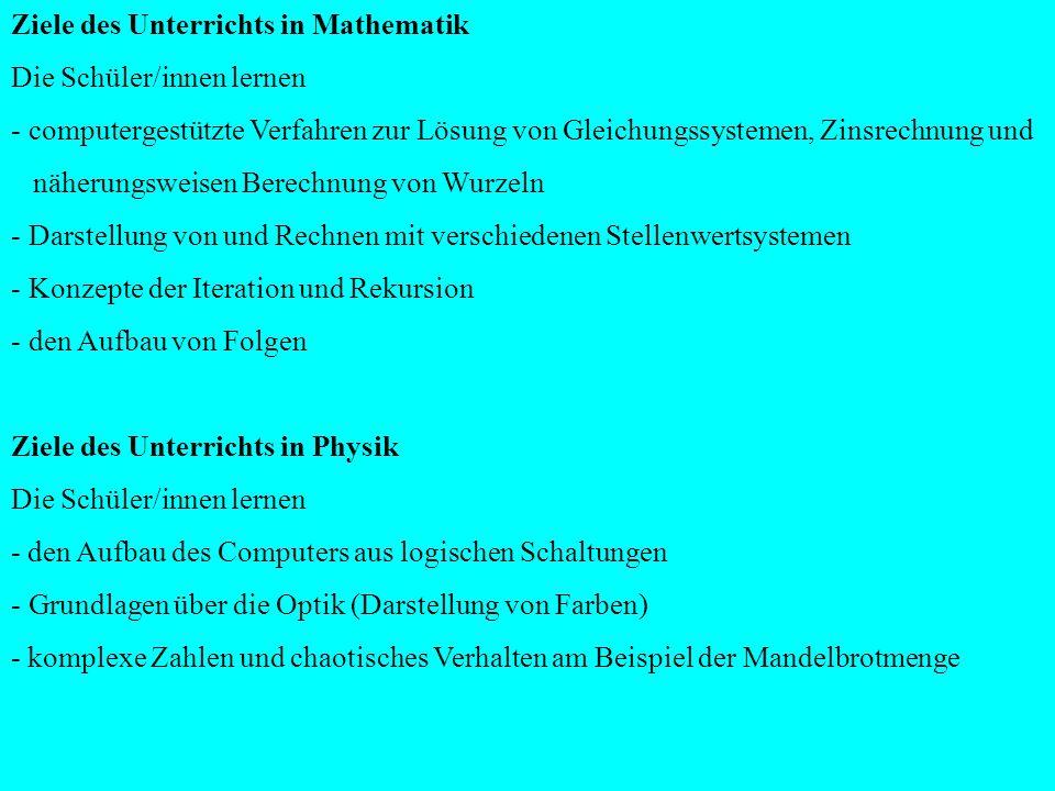 Ziele des Unterrichts in Mathematik Die Schüler/innen lernen - computergestützte Verfahren zur Lösung von Gleichungssystemen, Zinsrechnung und näherun