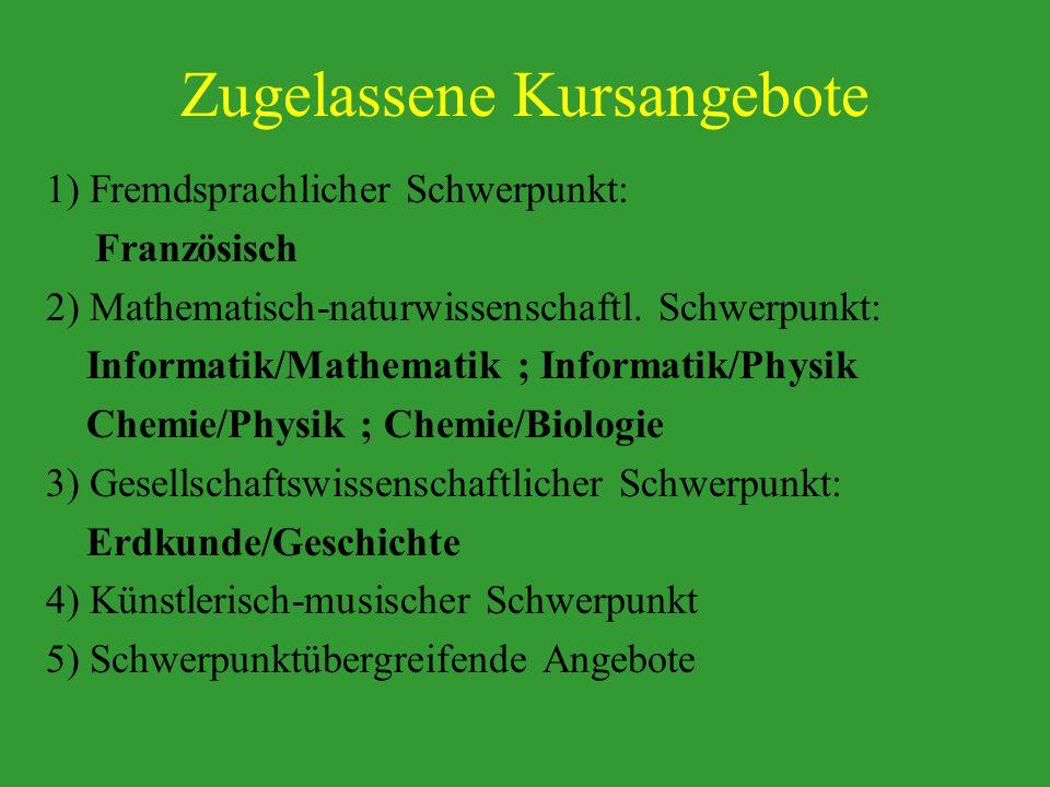 Zugelassene Kursangebote 1) Fremdsprachlicher Schwerpunkt: Französisch 2) Mathematisch-naturwissenschaftl. Schwerpunkt: Informatik/Mathematik ; Inform