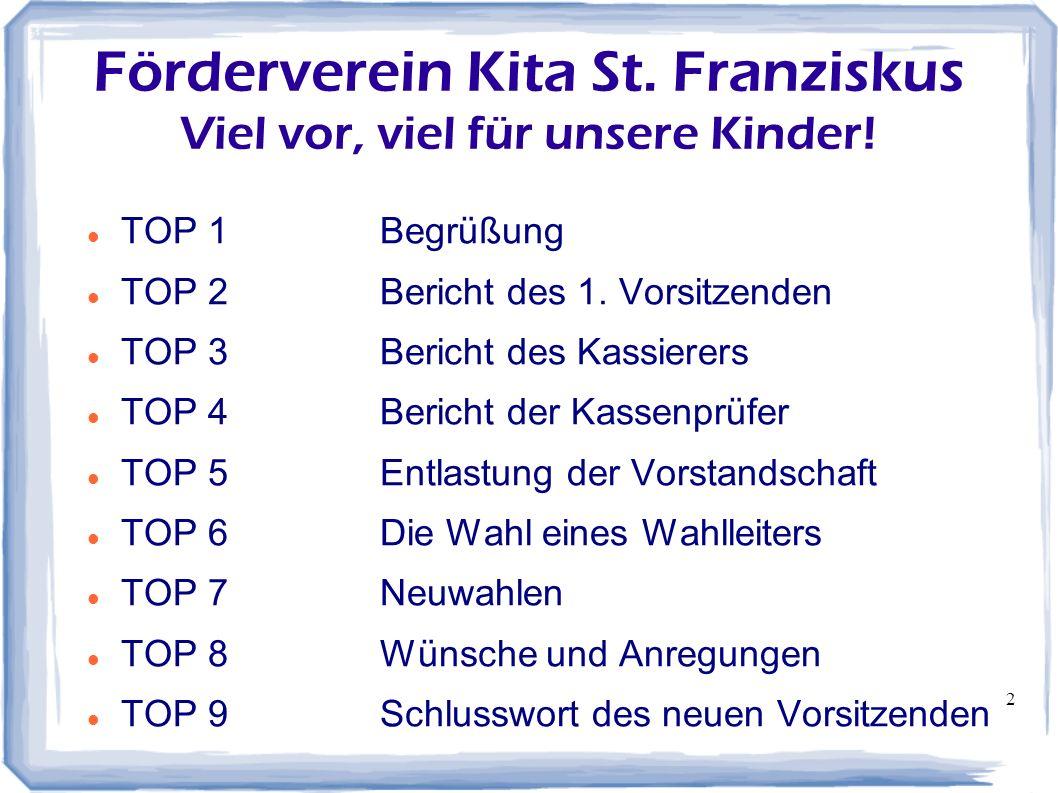 2 Förderverein Kita St. Franziskus Viel vor, viel für unsere Kinder! TOP 1Begrüßung TOP 2Bericht des 1. Vorsitzenden TOP 3Bericht des Kassierers TOP 4