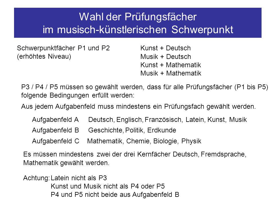 Wahl der Prüfungsfächer im gesellschaftswissenschaftlichen Schwerpunkt Schwerpunktfächer P1 und P2 (erhöhtes Niveau) Geschichte + Deutsch Geschichte + Fremdsprache Geschichte + Mathematik Geschichte + Naturwissenschaft P3 (erhöhtes Niveau) Politik oder Erdkunde P4 und P5 müssen so gewählt werden, dass für alle Prüfungsfächer (P1 bis P5) folgende Bedingungen erfüllt werden: Aus jedem Aufgabenfeld muss mindestens ein Prüfungsfach gewählt werden.
