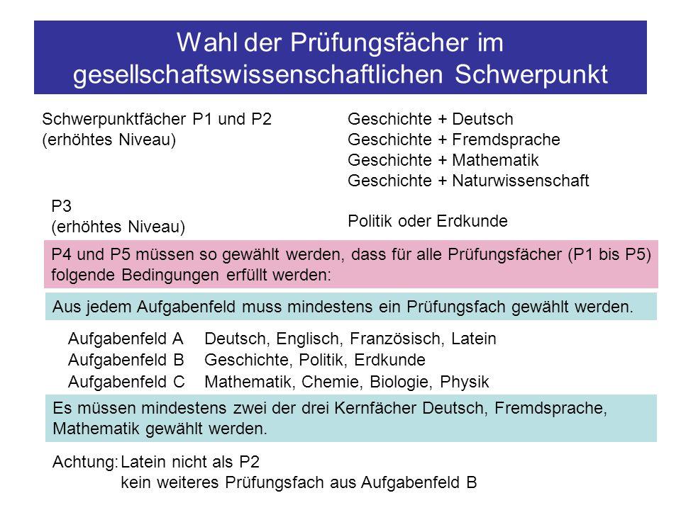 Wahl der Prüfungsfächer im gesellschaftswissenschaftlichen Schwerpunkt Schwerpunktfächer P1 und P2 (erhöhtes Niveau) Geschichte + Deutsch Geschichte +
