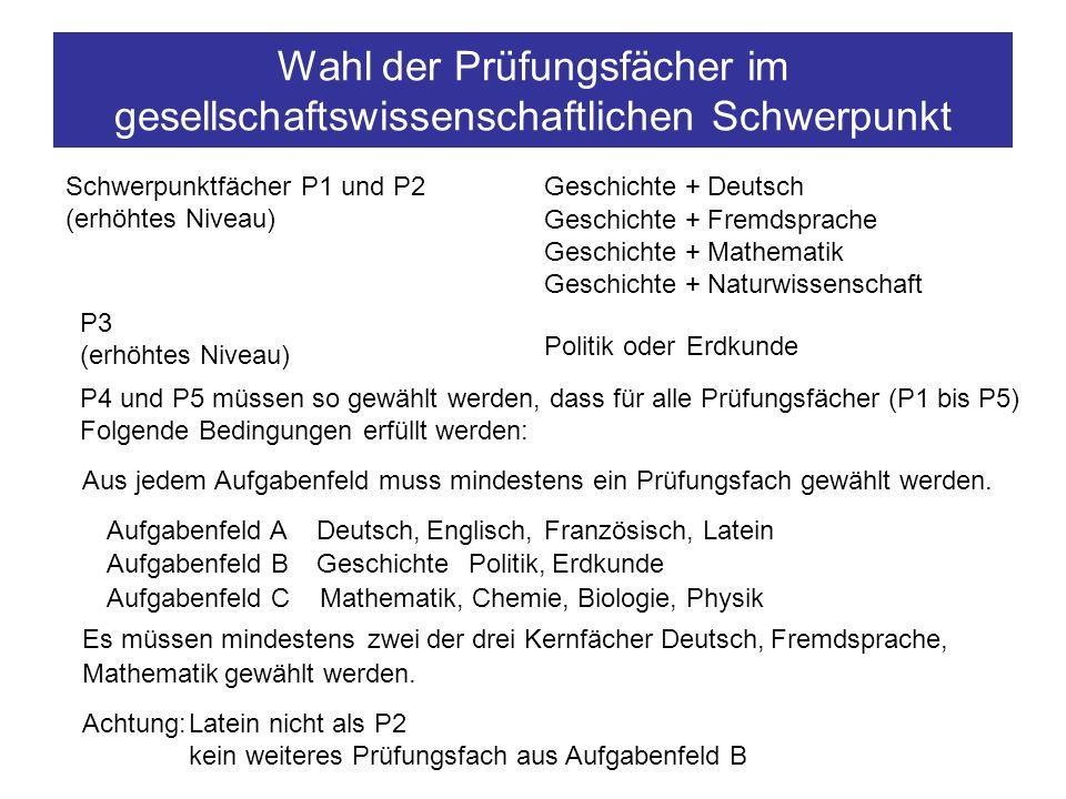 Wahl der Prüfungsfächer im gesellschaftswissenschaftlichen Schwerpunkt Schwerpunktfächer P1 und P2 (erhöhtes Niveau) Geschichte + Fremdsprache Geschic