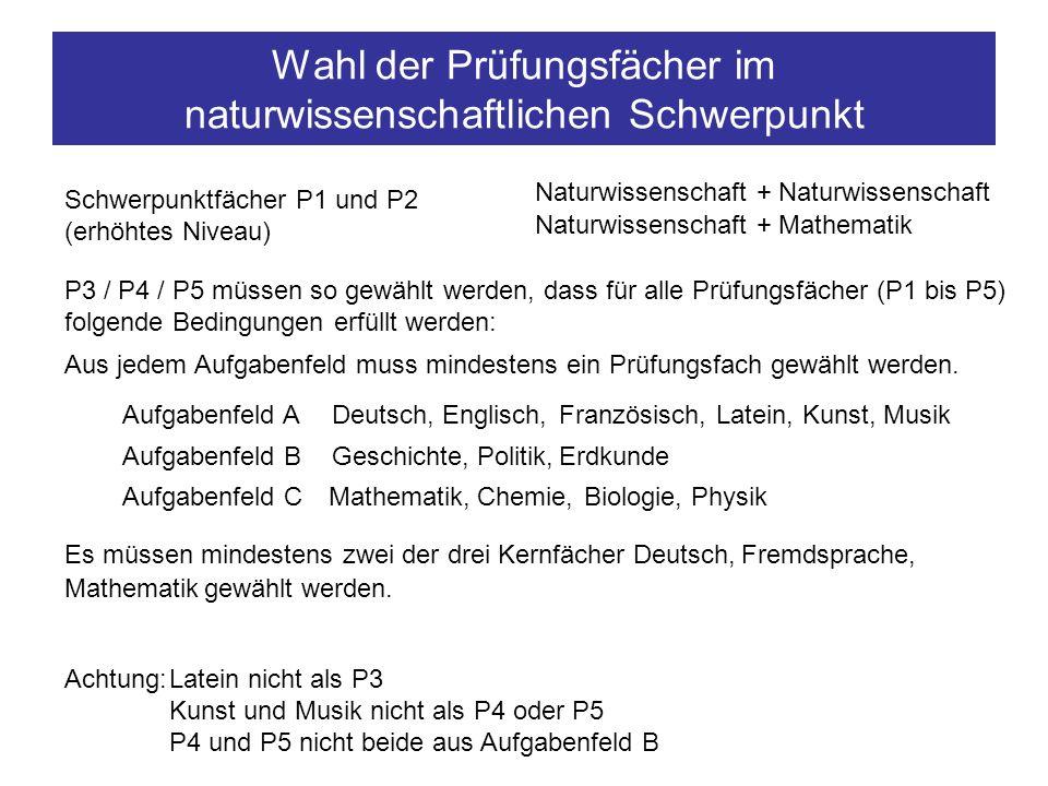 Wahl der Prüfungsfächer im naturwissenschaftlichen Schwerpunkt P3 / P4 / P5 müssen so gewählt werden, dass für alle Prüfungsfächer (P1 bis P5) folgend