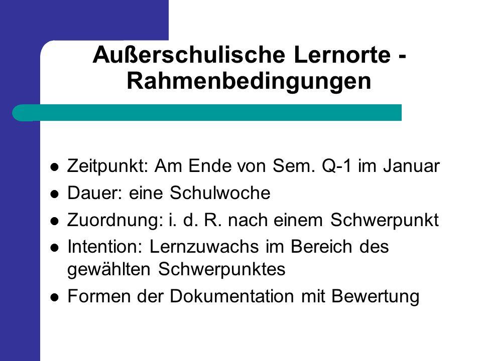 Außerschulische Lernorte - Rahmenbedingungen Zeitpunkt: Am Ende von Sem. Q-1 im Januar Dauer: eine Schulwoche Zuordnung: i. d. R. nach einem Schwerpun