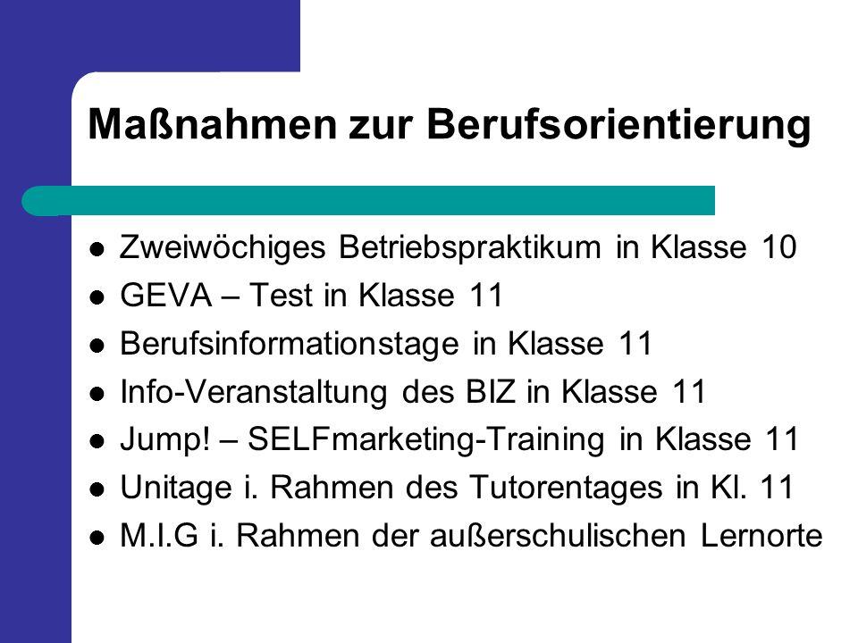 Maßnahmen zur Berufsorientierung Zweiwöchiges Betriebspraktikum in Klasse 10 GEVA – Test in Klasse 11 Berufsinformationstage in Klasse 11 Info-Veranst