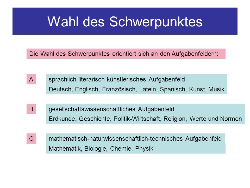 Wahl des Schwerpunktes Die Wahl des Schwerpunktes orientiert sich an den Aufgabenfeldern: A B C sprachlich-literarisch-künstlerisches Aufgabenfeld Deu