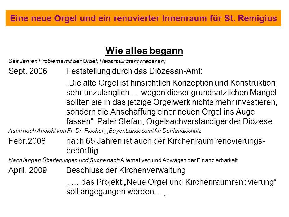 Eine neue Orgel und ein renovierter Innenraum für St. Remigius Wie alles begann Seit Jahren Probleme mit der Orgel; Reparatur steht wieder an; Sept. 2