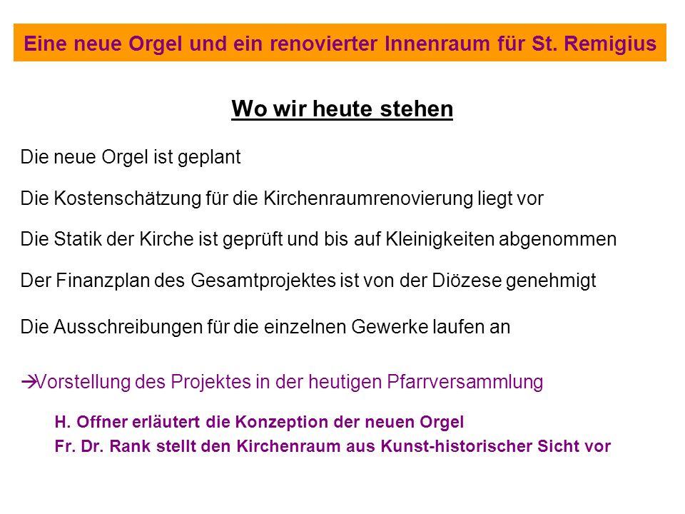 Eine neue Orgel und ein renovierter Innenraum für St. Remigius Wo wir heute stehen Die neue Orgel ist geplant Die Kostenschätzung für die Kirchenraumr