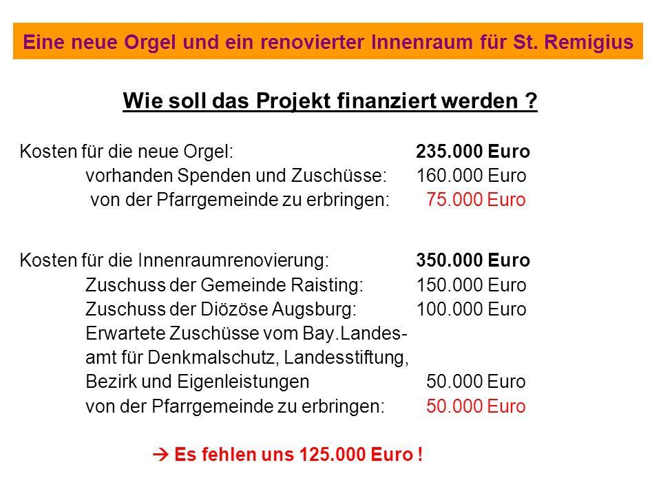 Wie soll das Projekt finanziert werden ? Kosten für die neue Orgel:235.000 Euro vorhanden Spenden und Zuschüsse:160.000 Euro von der Pfarrgemeinde zu