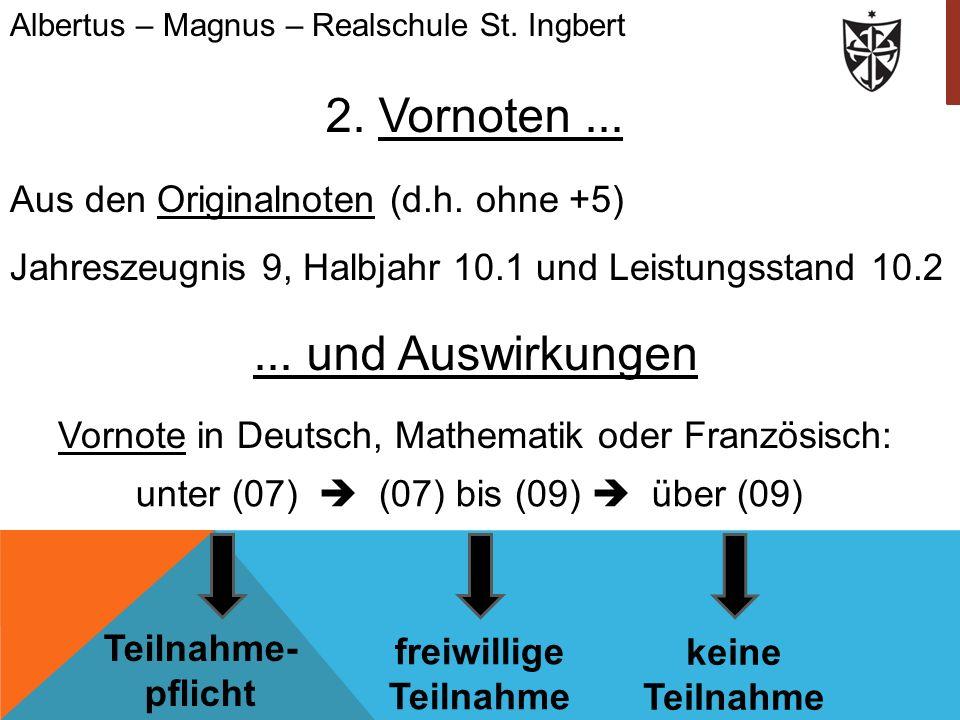 2. Vornoten... Aus den Originalnoten (d.h. ohne +5) Jahreszeugnis 9, Halbjahr 10.1 und Leistungsstand 10.2 Albertus – Magnus – Realschule St. Ingbert