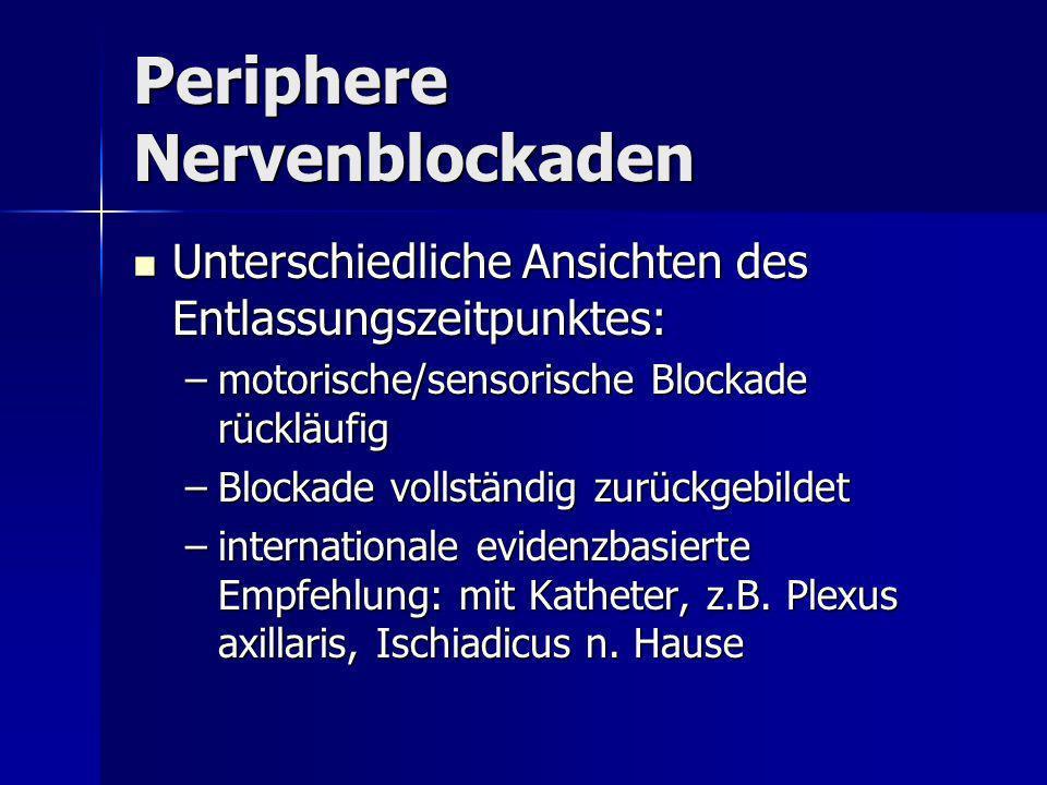 Periphere Nervenblockaden Unterschiedliche Ansichten des Entlassungszeitpunktes: Unterschiedliche Ansichten des Entlassungszeitpunktes: –motorische/se