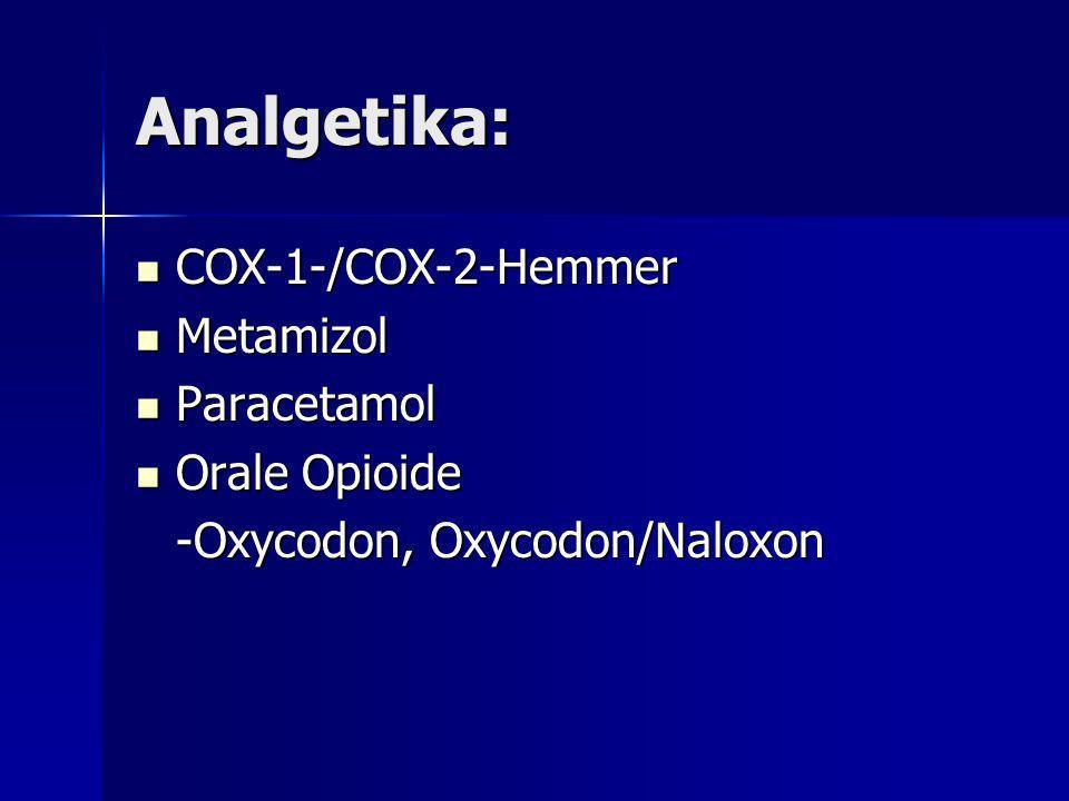 Analgetika: COX-1-/COX-2-Hemmer COX-1-/COX-2-Hemmer Metamizol Metamizol Paracetamol Paracetamol Orale Opioide Orale Opioide -Oxycodon, Oxycodon/Naloxo