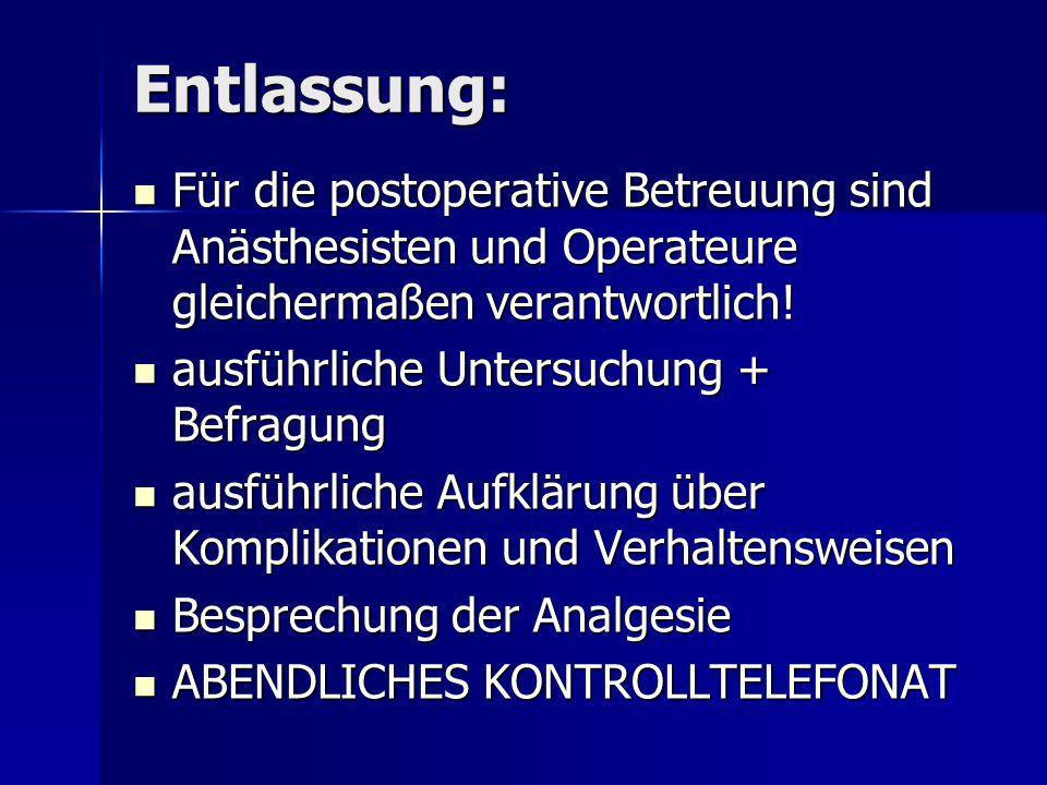 Entlassung: Für die postoperative Betreuung sind Anästhesisten und Operateure gleichermaßen verantwortlich! Für die postoperative Betreuung sind Anäst