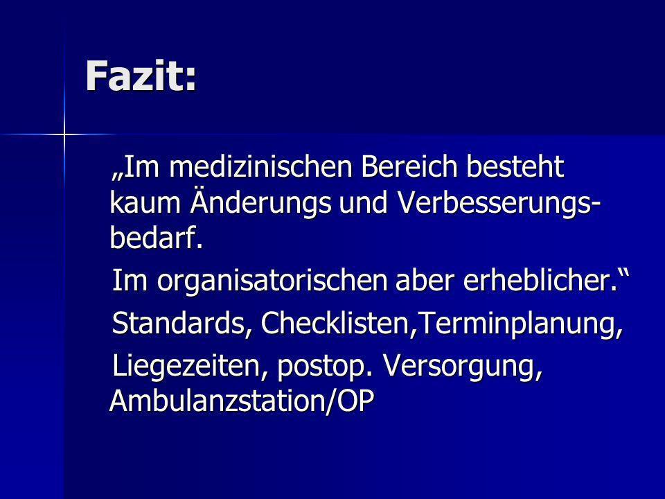 Fazit: Im medizinischen Bereich besteht kaum Änderungs und Verbesserungs- bedarf. Im medizinischen Bereich besteht kaum Änderungs und Verbesserungs- b