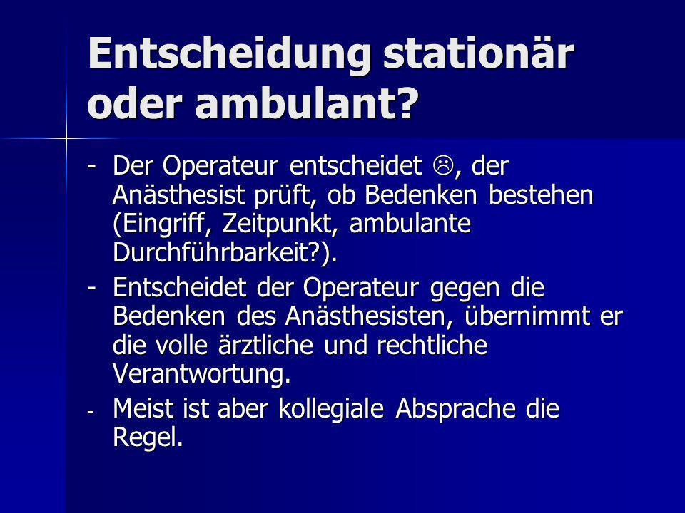 Entscheidung stationär oder ambulant? -Der Operateur entscheidet, der Anästhesist prüft, ob Bedenken bestehen (Eingriff, Zeitpunkt, ambulante Durchfüh