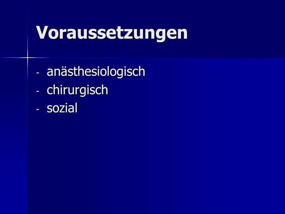 Voraussetzungen - anästhesiologisch - chirurgisch - sozial