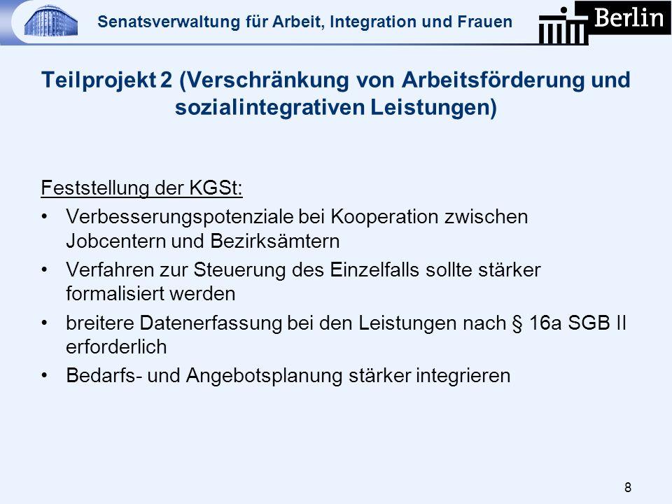 Senatsverwaltung für Arbeit, Integration und Frauen Teilprojekt 2 (Verschränkung von Arbeitsförderung und sozialintegrativen Leistungen) Feststellung