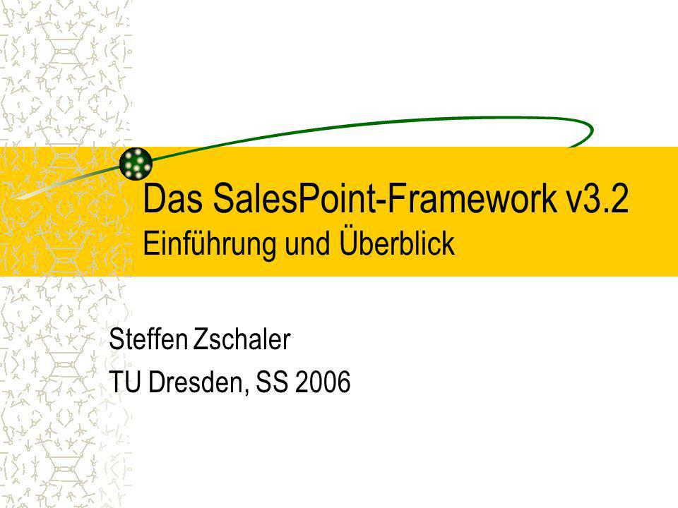 SS 20062 Gliederung Technische Realisierung des Frameworks SalesPoint –Framework.