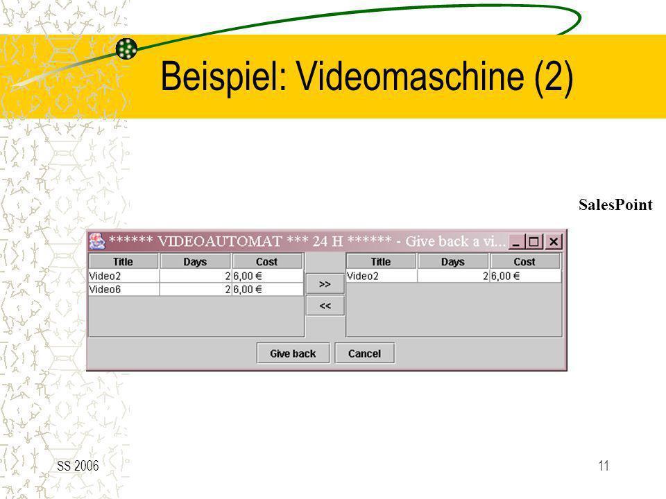 SS 200611 Beispiel: Videomaschine (2) SalesPoint