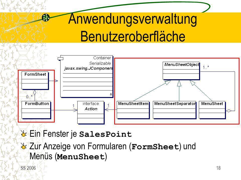 SS 200618 Anwendungsverwaltung Benutzeroberfläche Ein Fenster je SalesPoint Zur Anzeige von Formularen ( FormSheet ) und Menüs ( MenuSheet )