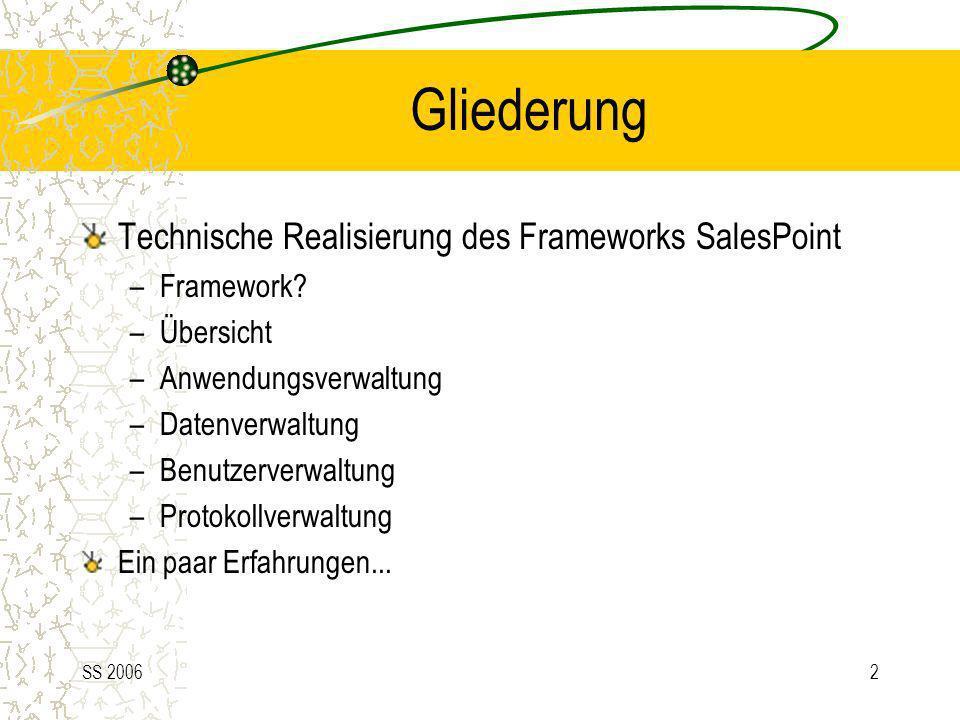 SS 20062 Gliederung Technische Realisierung des Frameworks SalesPoint –Framework? –Übersicht –Anwendungsverwaltung –Datenverwaltung –Benutzerverwaltun