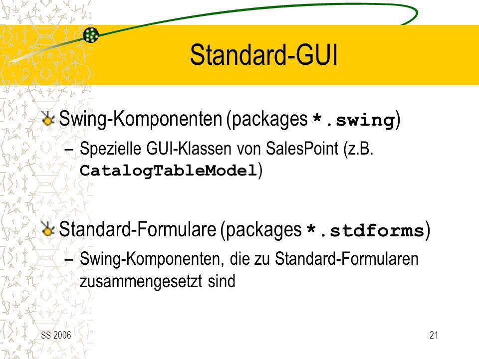 SS 200621 Standard-GUI Swing-Komponenten (packages *.swing ) –Spezielle GUI-Klassen von SalesPoint (z.B. CatalogTableModel ) Standard-Formulare (packa