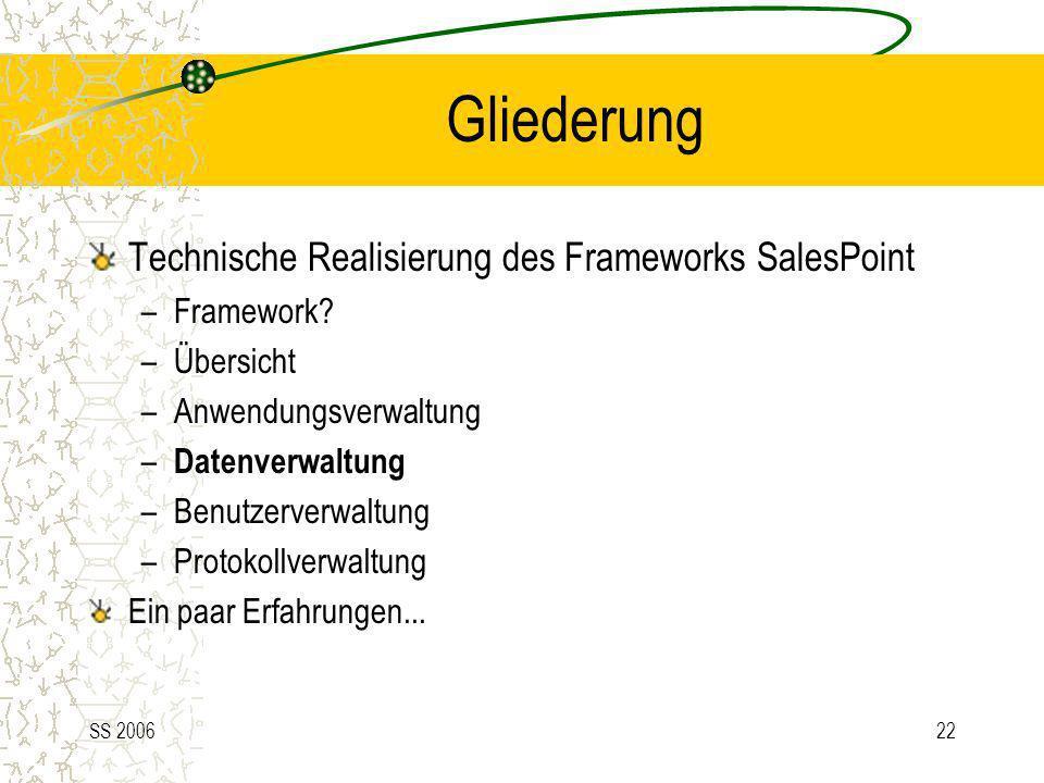 SS 200622 Gliederung Technische Realisierung des Frameworks SalesPoint –Framework? –Übersicht –Anwendungsverwaltung – Datenverwaltung –Benutzerverwalt