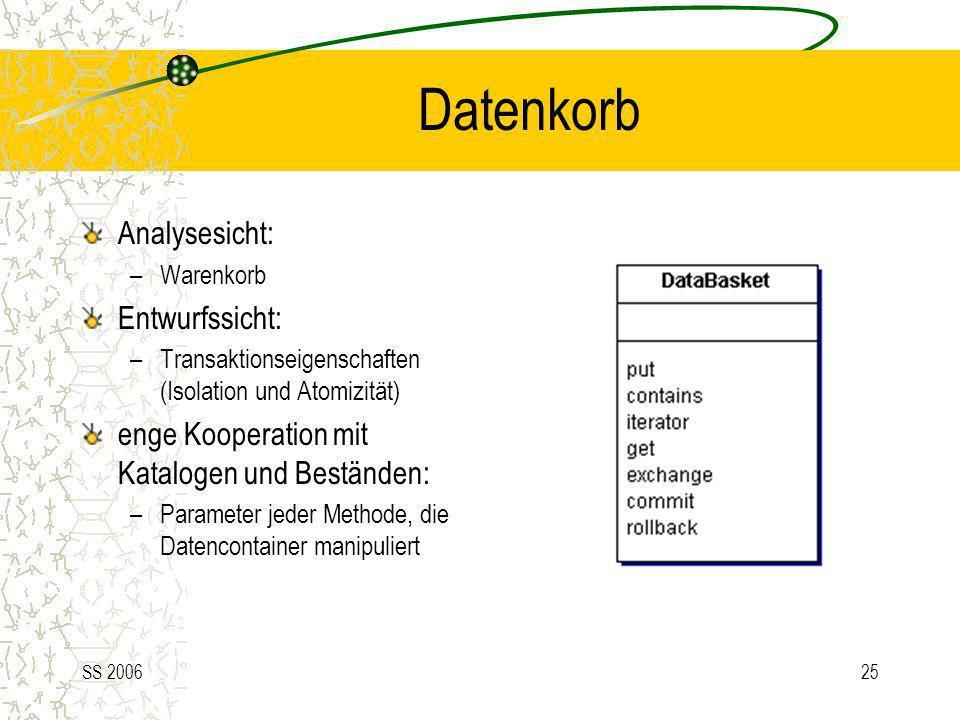 SS 200625 Datenkorb Analysesicht: –Warenkorb Entwurfssicht: –Transaktionseigenschaften (Isolation und Atomizität) enge Kooperation mit Katalogen und B
