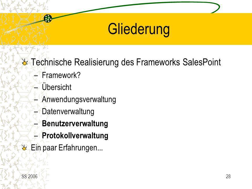 SS 200628 Gliederung Technische Realisierung des Frameworks SalesPoint –Framework? –Übersicht –Anwendungsverwaltung –Datenverwaltung – Benutzerverwalt