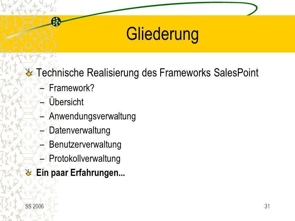 SS 200631 Gliederung Technische Realisierung des Frameworks SalesPoint –Framework? –Übersicht –Anwendungsverwaltung –Datenverwaltung –Benutzerverwaltu