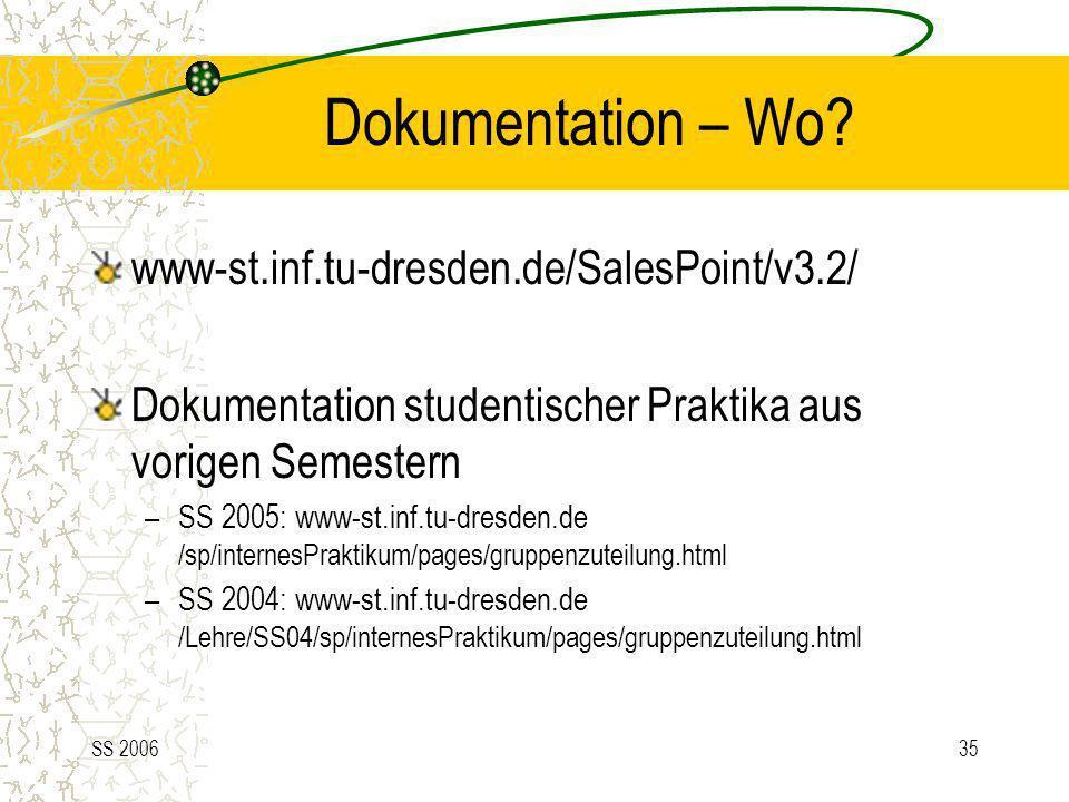 SS 200635 Dokumentation – Wo? www-st.inf.tu-dresden.de/SalesPoint/v3.2/ Dokumentation studentischer Praktika aus vorigen Semestern –SS 2005: www-st.in