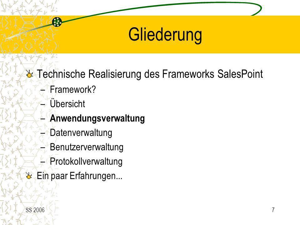 SS 20067 Gliederung Technische Realisierung des Frameworks SalesPoint –Framework? –Übersicht – Anwendungsverwaltung –Datenverwaltung –Benutzerverwaltu