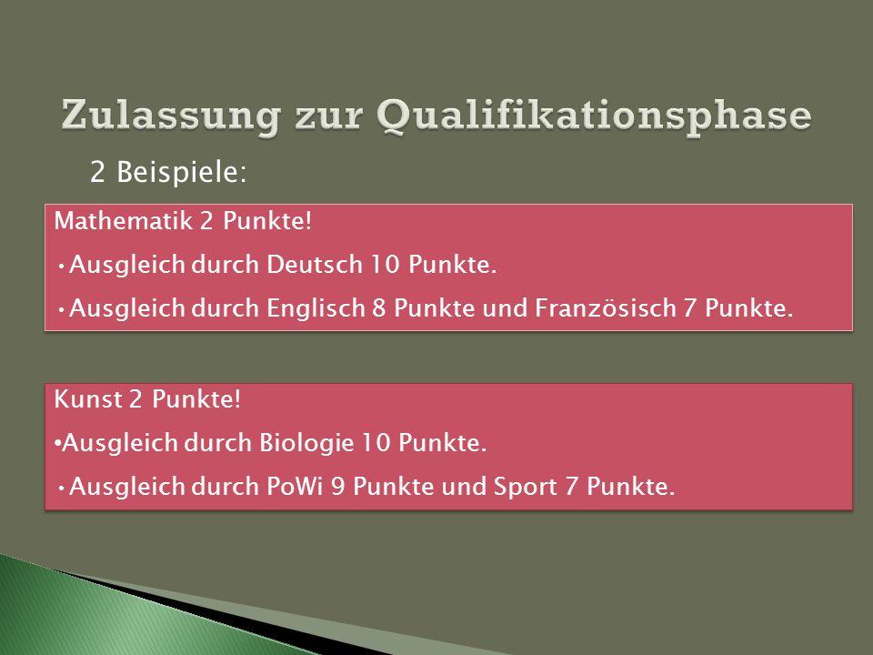 Zulassung zur Qualifikationsphase Mathematik 2 Punkte! Ausgleich durch Deutsch 10 Punkte. Ausgleich durch Englisch 8 Punkte und Französisch 7 Punkte.