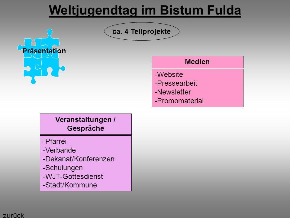 Weltjugendtag im Bistum Fulda Präsentation Medien -Website -Pressearbeit -Newsletter -Promomaterial Veranstaltungen / Gespräche -Pfarrei -Verbände -De